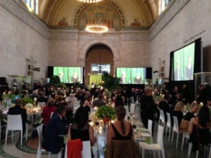 Physicians, artists, and sponsors enjoy a black-tie dinner at the Detroit Institute of Arts