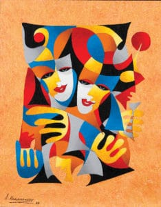Anatole-Krasnyansky-Two-MasksAnatole-Krasnyansky Two Masks Painting